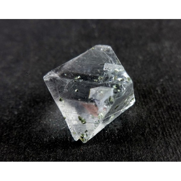 Clear Fluorite Octahedron Crystal with Pyrite Inclusions