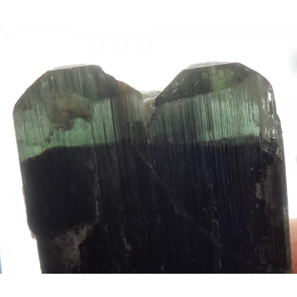 Twin Green Blue and Black Zoned Tourmaline Crystal