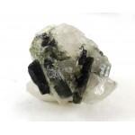 Green and Black Multiple Tourmaline Crystals on Quartz Matrix