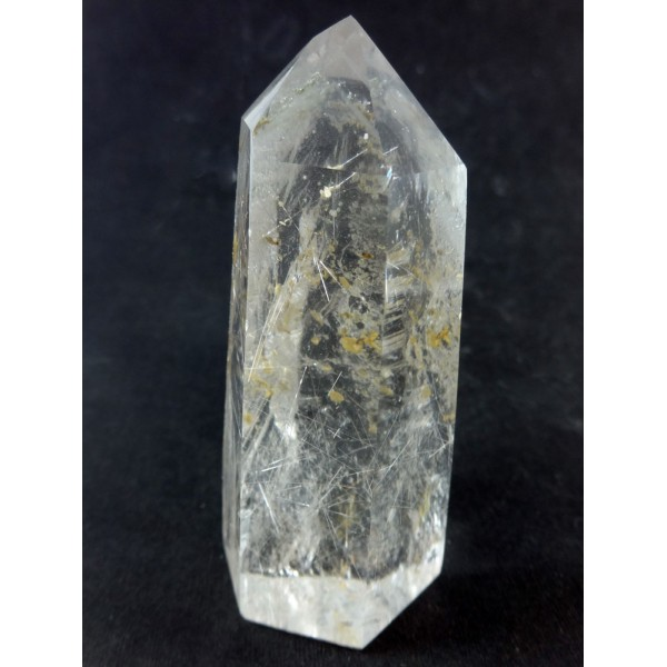 Clear Rutilated Quartz Point Half Polished