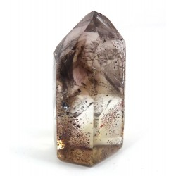 Smokey Quartz Phantom Point with Hematite Inclusions