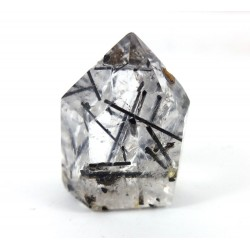 Polished Tourmalinated Clear Quartz Point