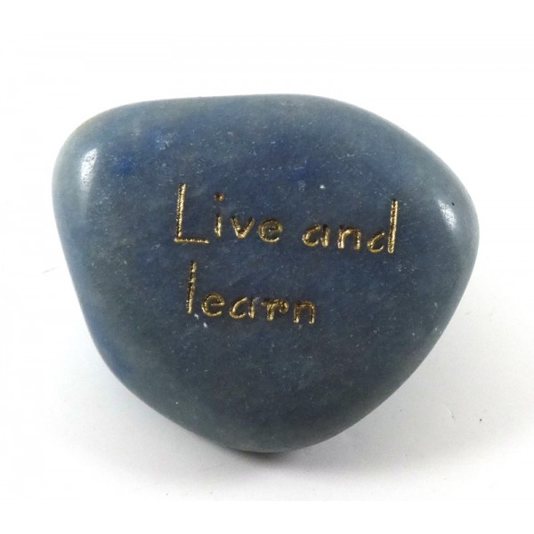 Live and Learn Blue Quartz Carved Tumblestone with a Message